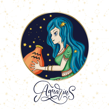 Zodiac Aquarius Girl Vector Sign. Cartoon astrology round badge Ilustrace