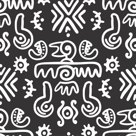 Seamless aztec vector pattern. Tribal traditional indian fabric design.