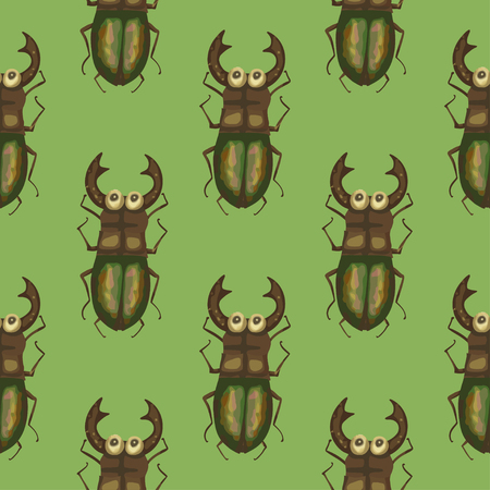 Seamless vector pattern with cute 3d insect. Ilustrace