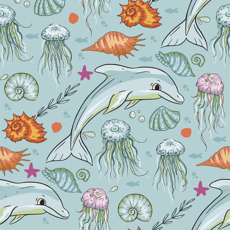 Sea seamless vector pattern. Ocean exotic illustration with tropical underwater animals