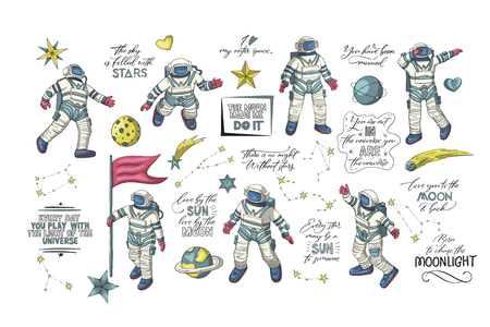 Astronaut in various poses. Other space vector set. Ilustrace