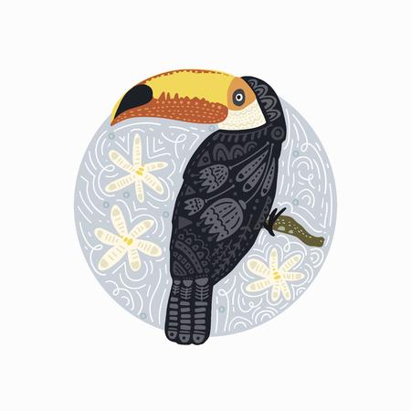 Round Vector Card. Tropical Bright bird Toucan. Folk illustration in Scandinavian style. Summer card.