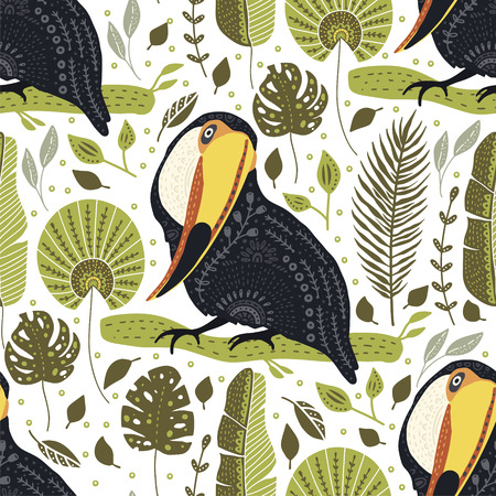 Seamless vector pattern with Tropical Toucan Bird. Animal and Botanic illustration in Scandinavian style. Summer exotic card. Ilustrace