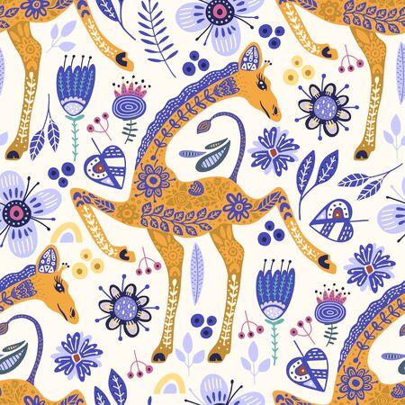 Seamless pattern with cartoon giraffe vector flat illustration in scandinavian style. Color cute african animal background. Çizim