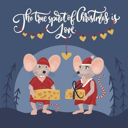 Christmas vector mouse. Cartoon illustration. Cute mice with cheese and lettering quote. The true spirit of Christmas is love.