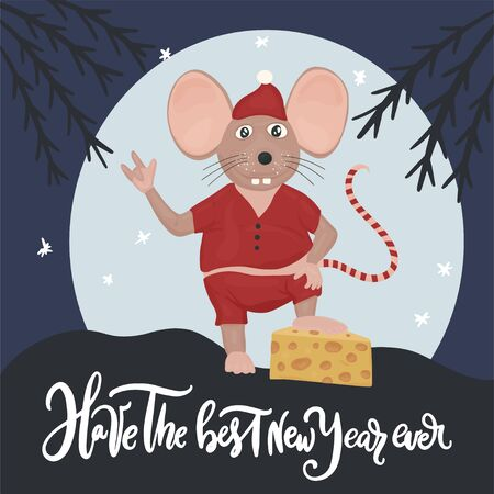 Christmas vector mouse. Cartoon illustration. Cute mice with cheese and lettering quote. Have the best New Year ever.
