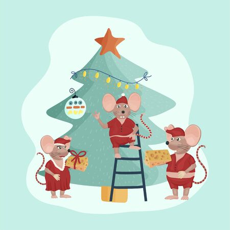 Christmas vector mouse card. Cartoon illustration. Holiday illustraton with rats decorating tree. Vectores