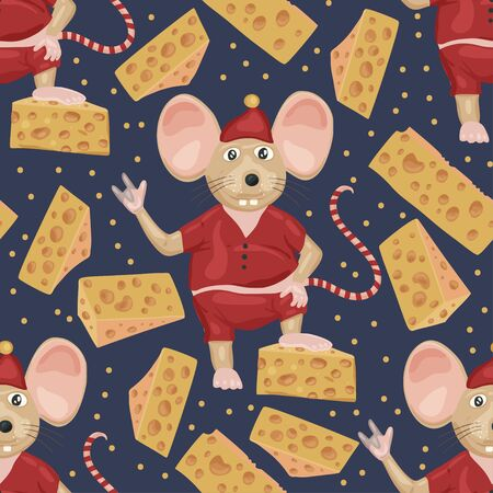 Christmas vector mouse seamless pattern. Ilustração