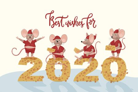 Christmas vector mouse postcard. Illustration