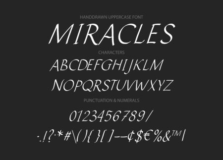 Hand drawn  italics uppercase alphabet ABC with letters, numbers, symbols.