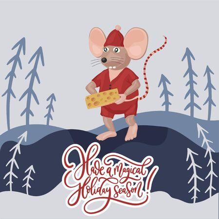 Christmas vector mouse. Cartoon illustration. Have a magical holiday season. Ilustração