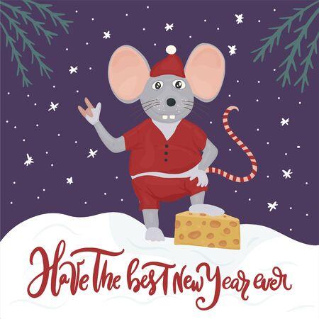 Christmas vector mouse. Cartoon illustration. Have the best New Year ever. Ilustração