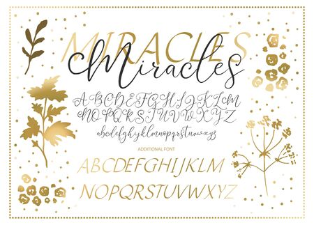 Hand drawn vector alphabet. Duo font with letters, numbers, symbols and golden decor. For calligraphy, lettering, hand made quotes.