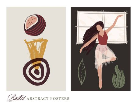 Ballet dancer girl poster set. Ballerina near the windowi llustration. Abstract vector collection. Flat and hand drawn brush ink textured art. Çizim