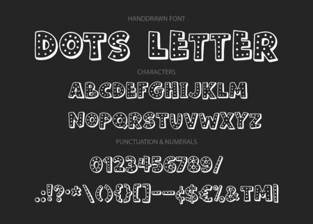 Cute hand drawn display vector alphabet ABC font with letters, numbers, symbols. For calligraphy, lettering, hand made quotes. Ilustração