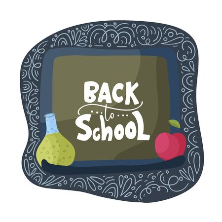Vector school card with flat and doodle illustrations and hand drawn lettering quote on a blackboard test tube and apple. Back to school.