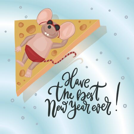 Christmas vector mouse. Cartoon illustration. Christmas vector mouse. Cartoon illustration. Cute mice with cheese and lettering quote. Have the best New Year ever.