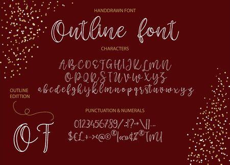 Vektor-Alphabet-Schrift. Handgezeichnete moderne Schrift. Umrissbuchstaben, elegante Kalligraphie abc.