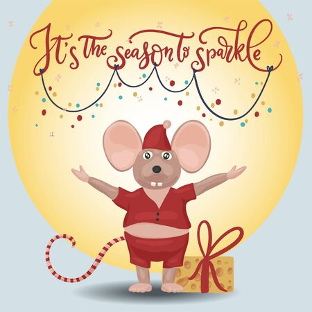 Christmas vector mouse. Cartoon illustration. Cute mice with cheese and lettering quote. It is the season to sparcle.