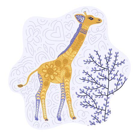 Cartoon giraffe vector flat illustration in scandinavian style. Cute african animal card.