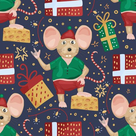 Christmas vector mouse seamless pattern. Cartoon holiday illustration. Cute happy rat with cheese gifts. Ilustração