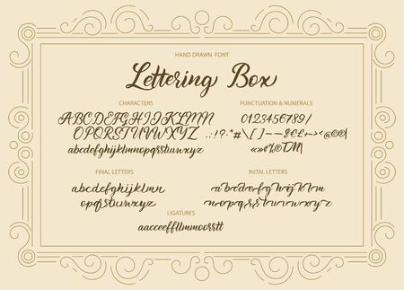 Cute hand drawn vintage vector alphabet ABC font with letters, numbers, symbols. For calligraphy, lettering, hand made quotes.