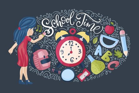 Vector school card with flat and doodle illustrations and hand drawn lettering quote. School time post card with girl, alarm clock and different supplies.