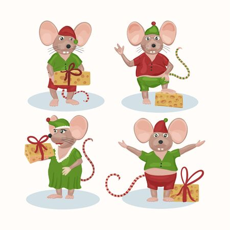 Christmas vector mouse set. Cartoon ret illustration. Holiday and New Year animal collection. Funny icons. Ilustração