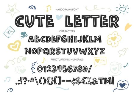 Cute hand drawn love display vector alphabet ABC font with letters, numbers, symbols. For calligraphy, lettering, hand made quotes.