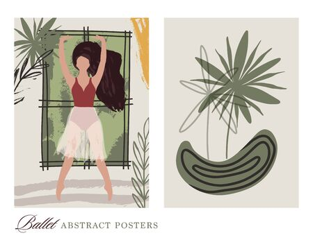 Ballet dancer girl poster set. Ballerina illustration with tropical leaves. Abstract vector collection. Flat and hand drawn brush ink textured art.