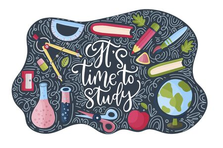 Vector school card with flat and doodle illustrations and hand drawn lettering quote. Back to school. It is time to study postcard with apple, compass, pencil books and other supplies.