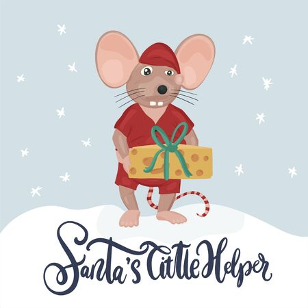 Christmas vector mouse. Cartoon illustration. Cute mice with cheese and lettering quote. Santas little helper. Ilustração