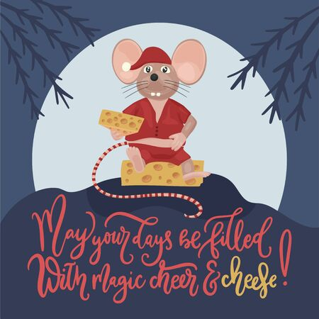 Christmas vector mouse. Cartoon illustration. May your days be filled with cheer and cheese. Ilustração