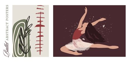 Ballet dancer girl poster set. Ballerina modern illustration. Abstract vector collection. Flat and Hand drawn brush ink textured art.