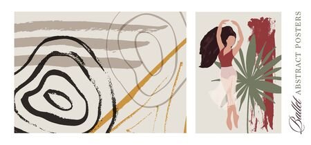 Ballet dancer girl poster set. Ballerina and troical palm leave illustration. Abstract vector collection. Flat and Hand drawn brush ink textured art.