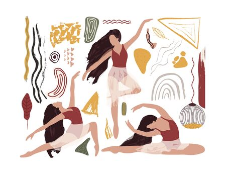 Ballet dancer girl icon set. Modern color dance poses drawing. Abstract vector illustration. Flat and Hand drawn brush ink textured art.