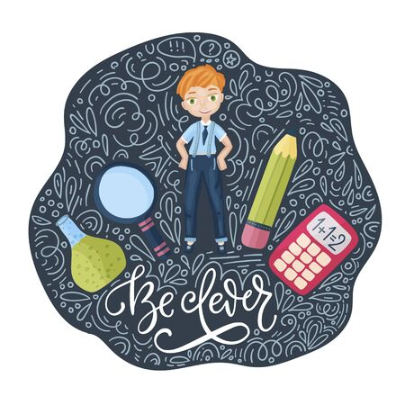 Vector school card with flat and doodle illustrations and hand drawn lettering quote. Back to school. Be clever post card with happy boy and supplies.