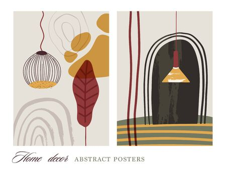 Abstract vector illustration card set. Flat and Hand drawn brush ink textured wall art. Interior lamp and atbstract shapes. Modern poster. Ilustração