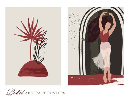 Ballet dancer girl poster set. Ballerina and tropical floral illustrations. Abstract vector collection. Flat and hand drawn brush ink textured art.