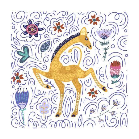 Cartoon giraffe vector flat illustration in scandinavian style. Dancing african cute animal.