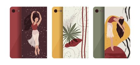 Abstract vector illustration. Flat and Hand drawn brush ink textured art. Ballerina mobile phone case cover collection. Female elegance tropical palm leaves, nature and dancer set.