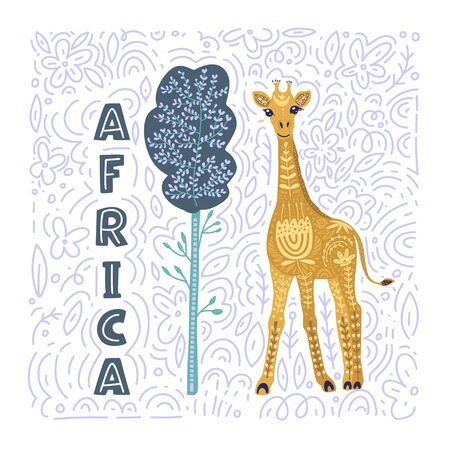 Cartoon giraffe vector flat illustration in scandinavian style. Tall african animal under the tree.