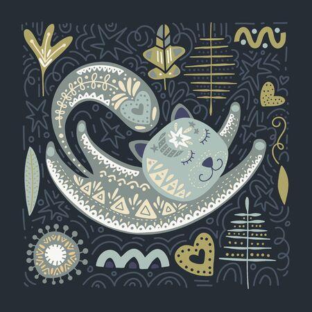 Folk art vector animal illustration in scandinavian style. Tribal nordic square card with detailed cat and floral decoration. Ilustração
