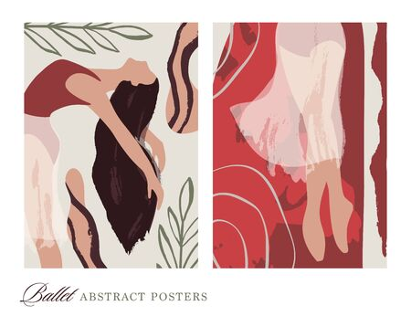 Ballet dancer girl poster set. Ballerina illustration. Abstract vector collection. Flat and hand drawn brush ink textured art.