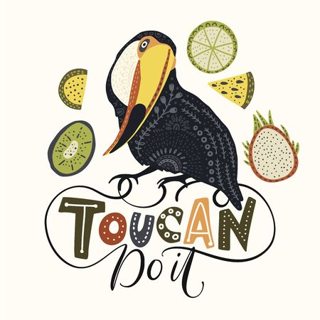 Seamless vector pattern with Tropical Bright Toucan Bird. Folk illustration in Scandinavian style. Summer tropic card.