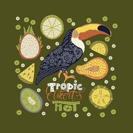 Bright bird Toucan with tropical fruits and lettering quote. Vector illustration in Scandinavian style. Summer rainforest card. Ilustração