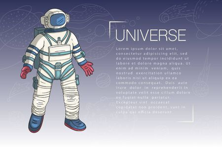 Astronaut, vector illustration. Comonaut card for print and web. Template with comic sign with a spaseman among constellations and place for your text. Traveler in vacuum. I love my othes space.