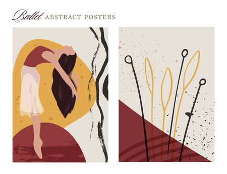 Ballet dancer girl poster set. Ballerina and floral illustration. Abstract vector collection. Flat and Hand drawn brush ink textured art. Çizim