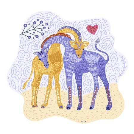 Cartoon giraffe vector flat illustration in scandinavian style. Giraffes couple in love. Ilustração