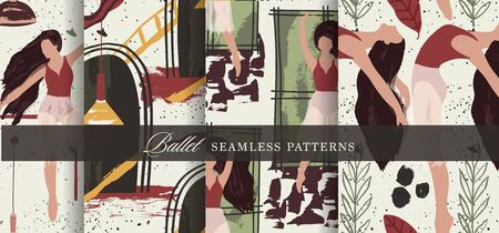 Ballet dancer girl seamless pattern set. Abstract vector illustration. Flat and Hand drawn brush ink textured art collection.
